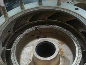 Sea water lift pump suffering from erosion and corrosion