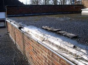 Damaged gutter requiring repair