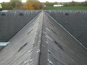 Deteriorated flashings on pitched roof
